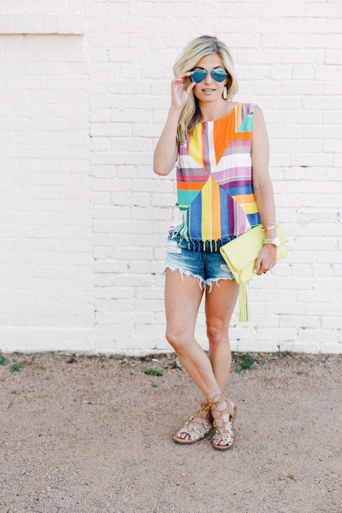 multicolor tassel top - summer outfit - cutoff denim shorts - dallas fashion blogger