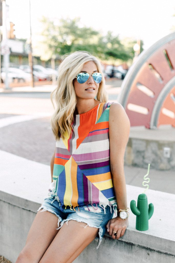 stripe tassel top - tracy reese top - summer outfit ideas - turquoise aviators