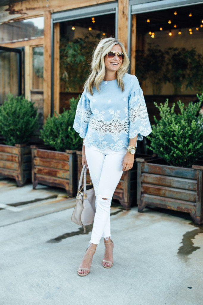 chicwish blue lace top - night out - tan sandals
