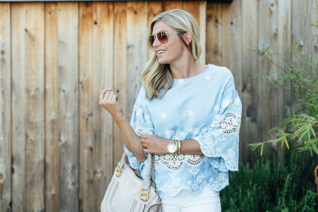blue lace top - white jean outfit - night on the town outfit