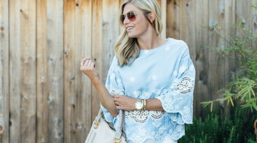 CHICWISH BLUE LACE TOP
