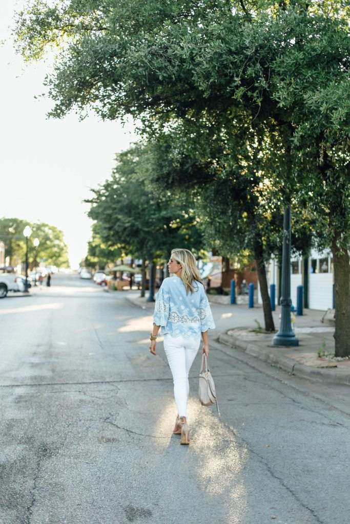 girls night out outfit - beige bag - light blue top