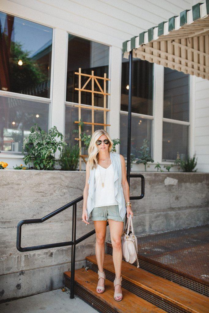 denim vest - chicos vest - summer vest - casual summer outfit idea - green cargo shorts - dallas fashion blogger