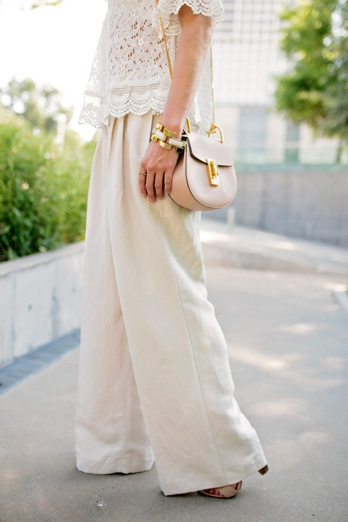 white off the shoulder top linen pants outfit