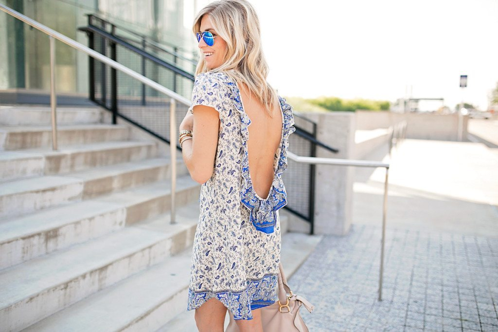 blue paisley open back dress