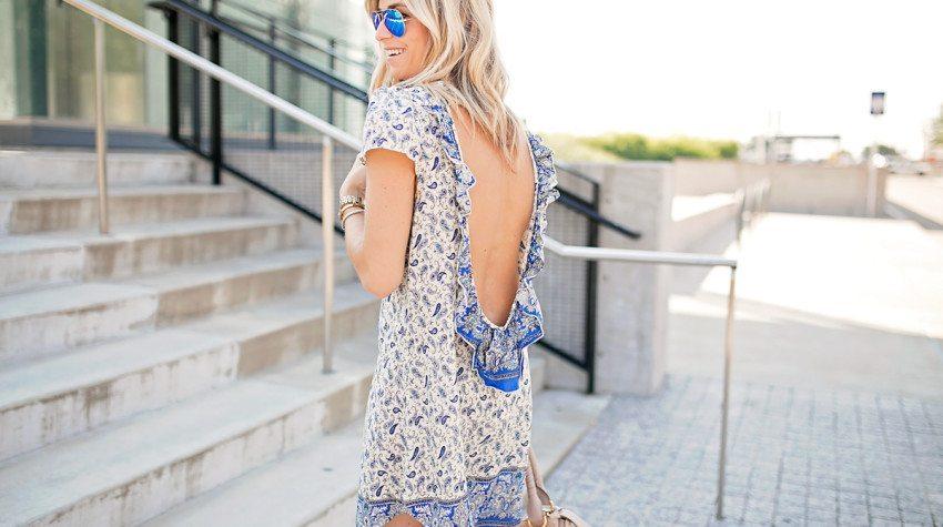 BLUE PAISLEY OPEN BACK DRESS
