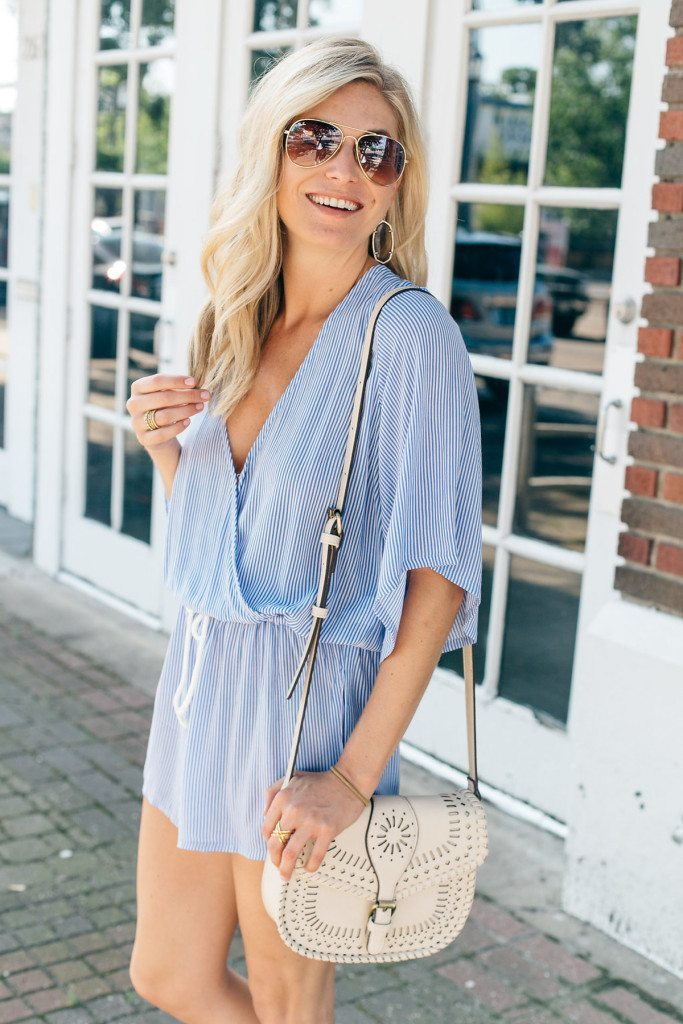 sailor stripe romper - sole society white crossbody - 4th of july romper - 4th of july outfit idea - dallas fashion blogger