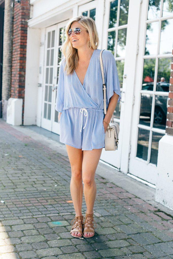 short sleeve blue stripe romper - brooke burnett - dallas fashion blogger - fourth of july outfit