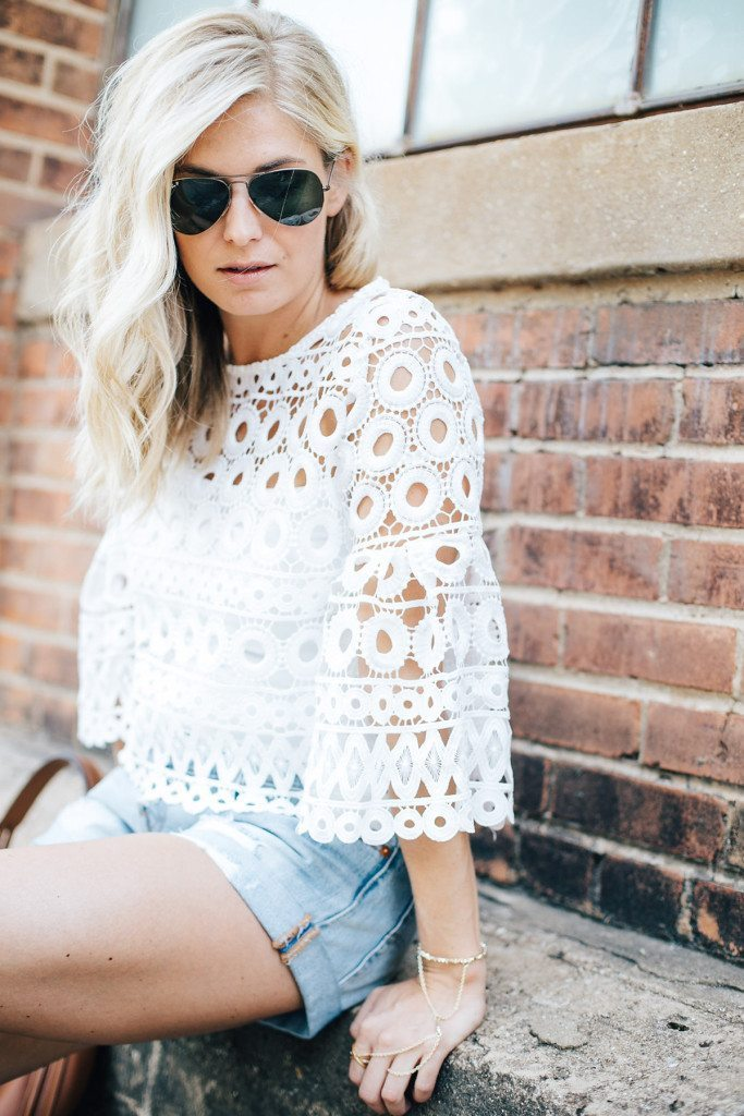 casual summer style white crochet top