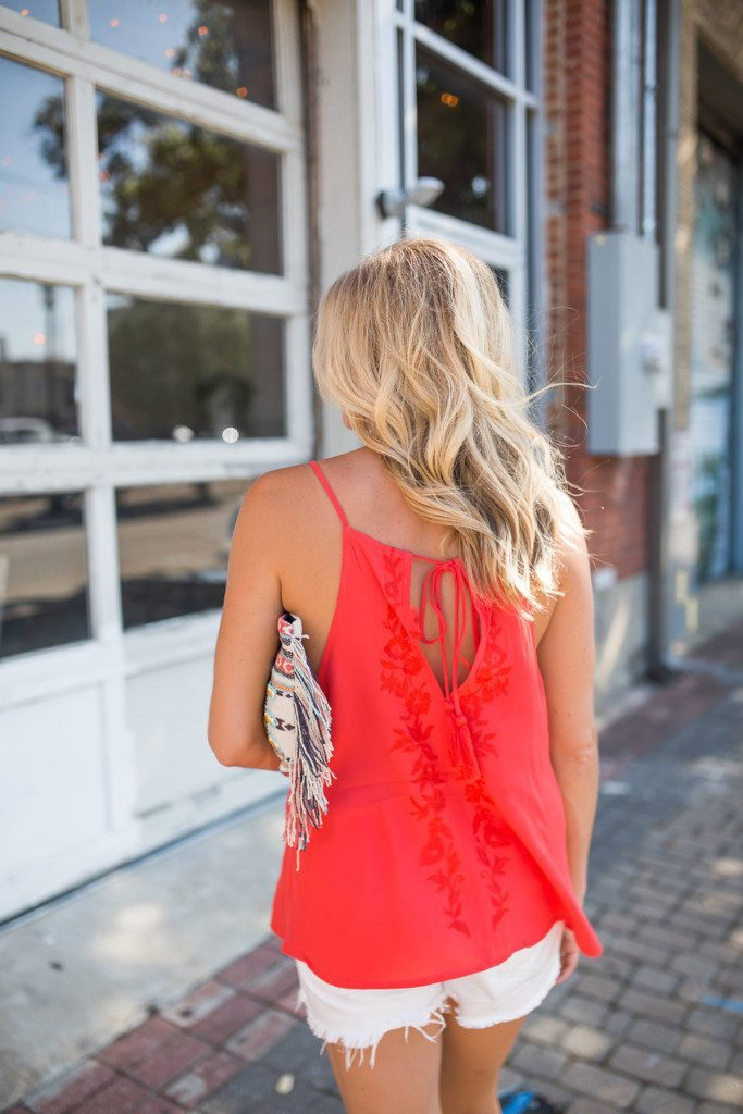 red embroidered tank