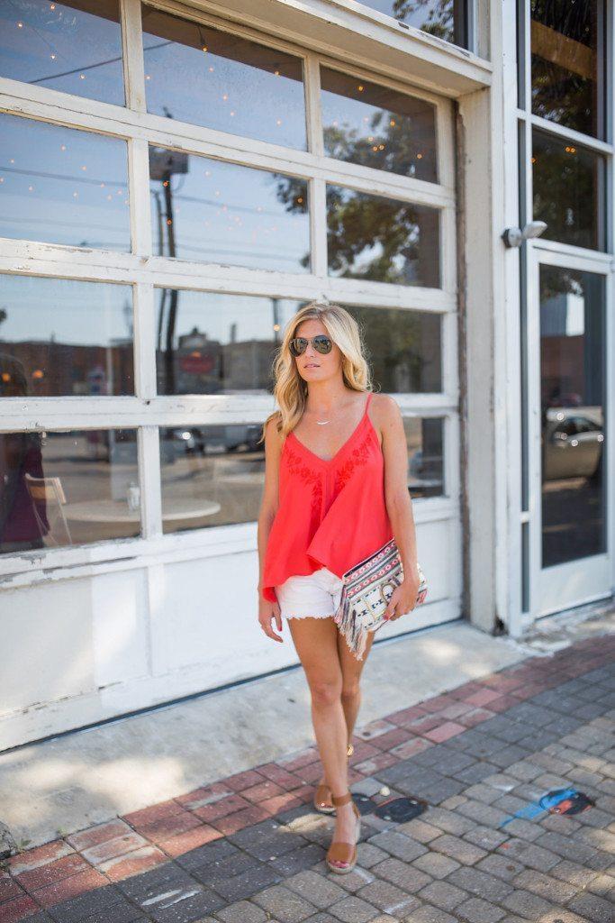red embroidered tank - dallas fashion blog