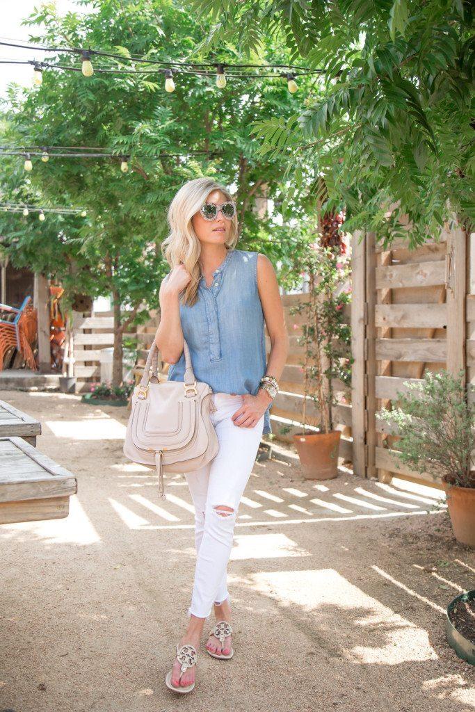 summer white jeans - dallas fashion blogger - denim shirt