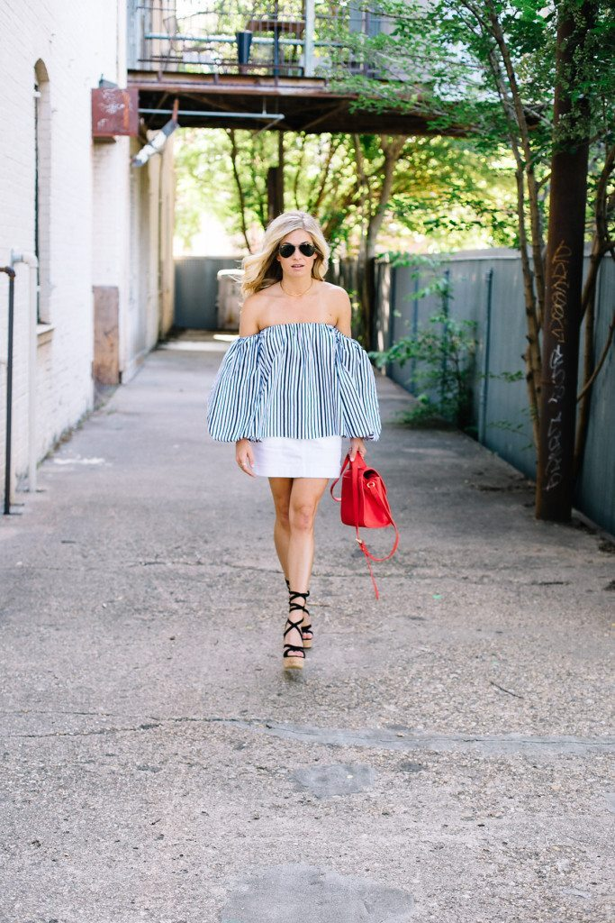 stripe off the shoulder top - fourth of july outfit inspiration - white denim skirt - red crossbody purse - dallas fashion blogger