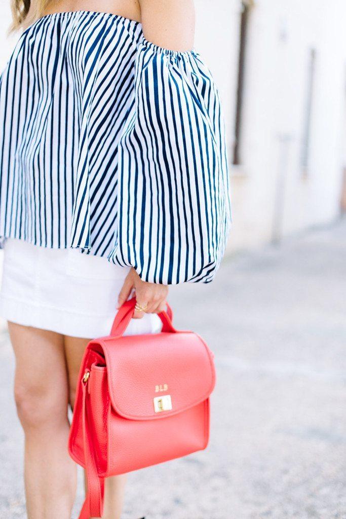 blue stripe off the shoulder top - gigi new york crossbody purse - red crossbody purse
