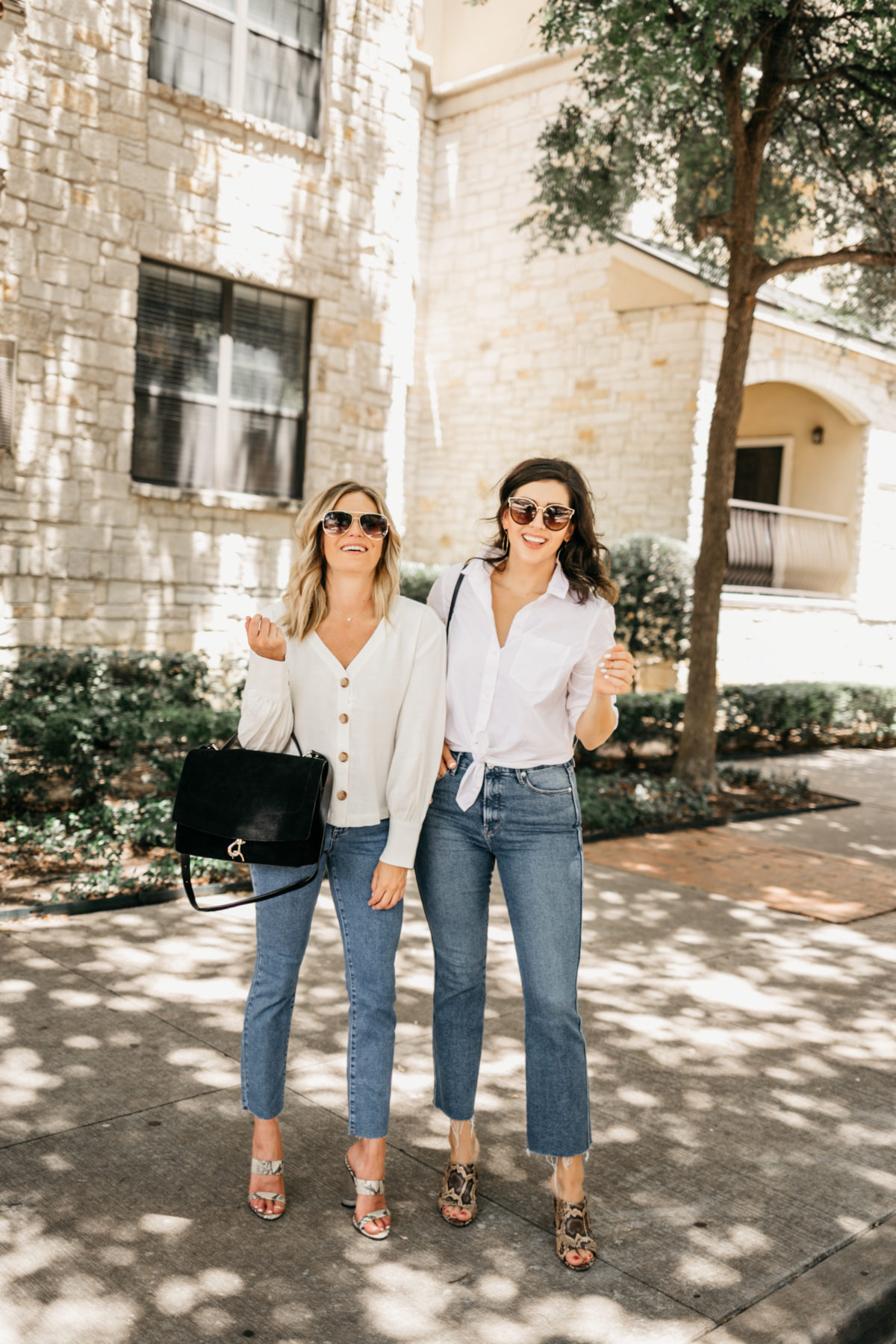 two women wearing white shirt and jeans from nordstrom anniversary sale jeans