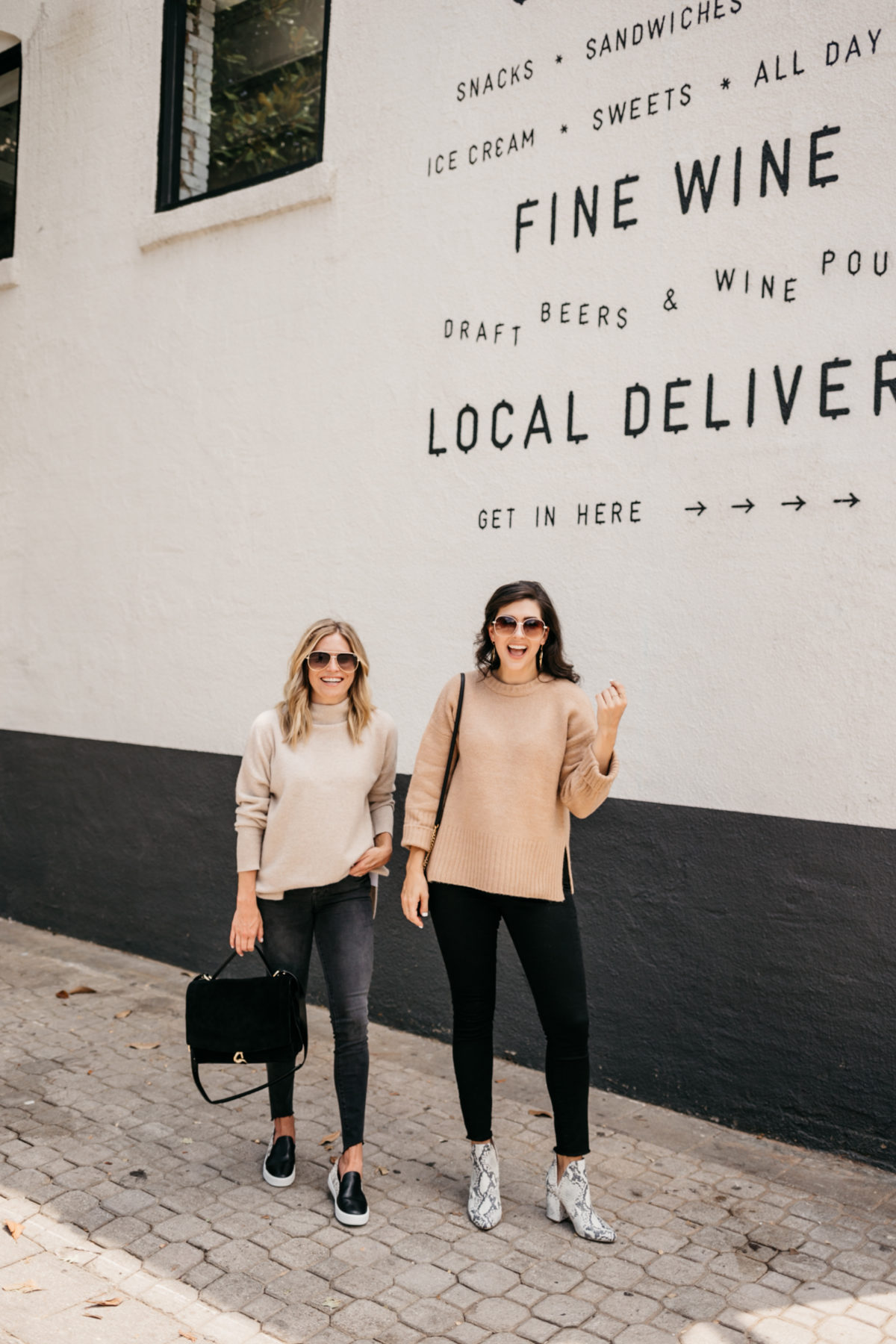 two women wearing dark jeans and nude top for nordstrom anniversary sale jeans