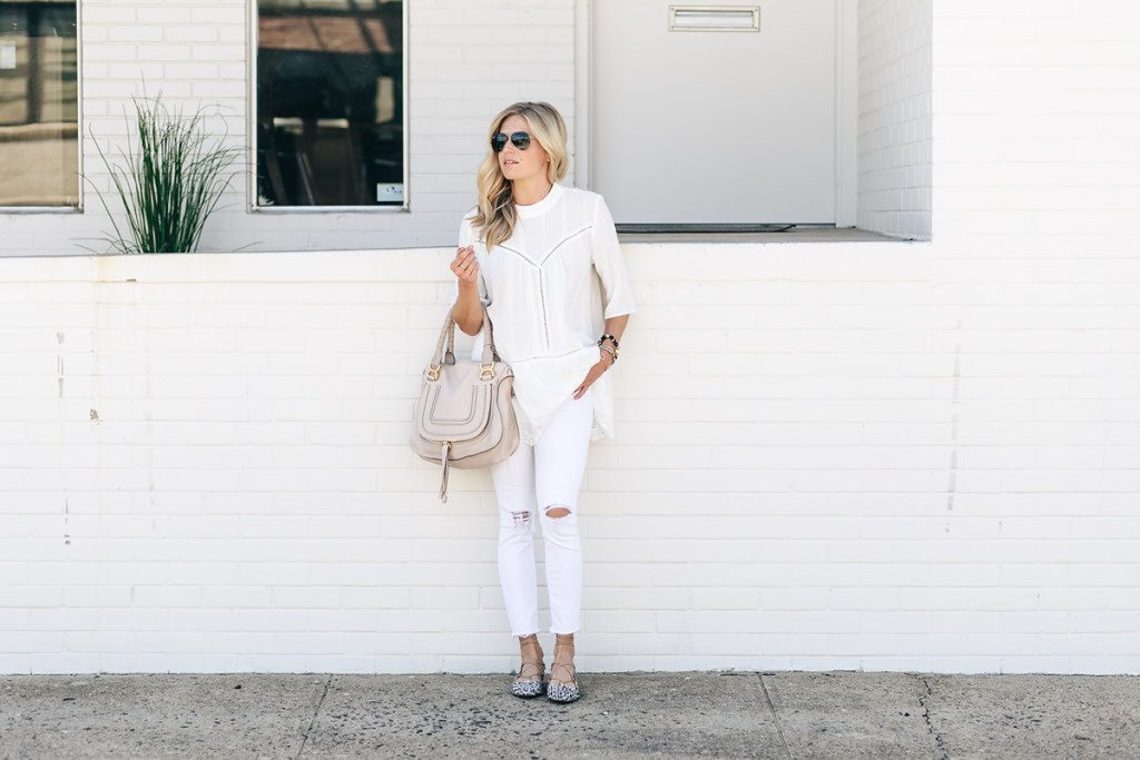 chloe bag - halogen flats - white jean - lace tunic nordstrom anniversary sale
