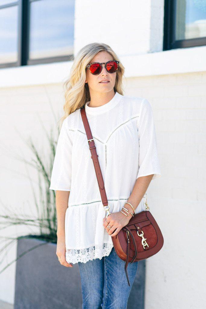 white lace tunic fall outfit - rebecca minkoff crossbody purse