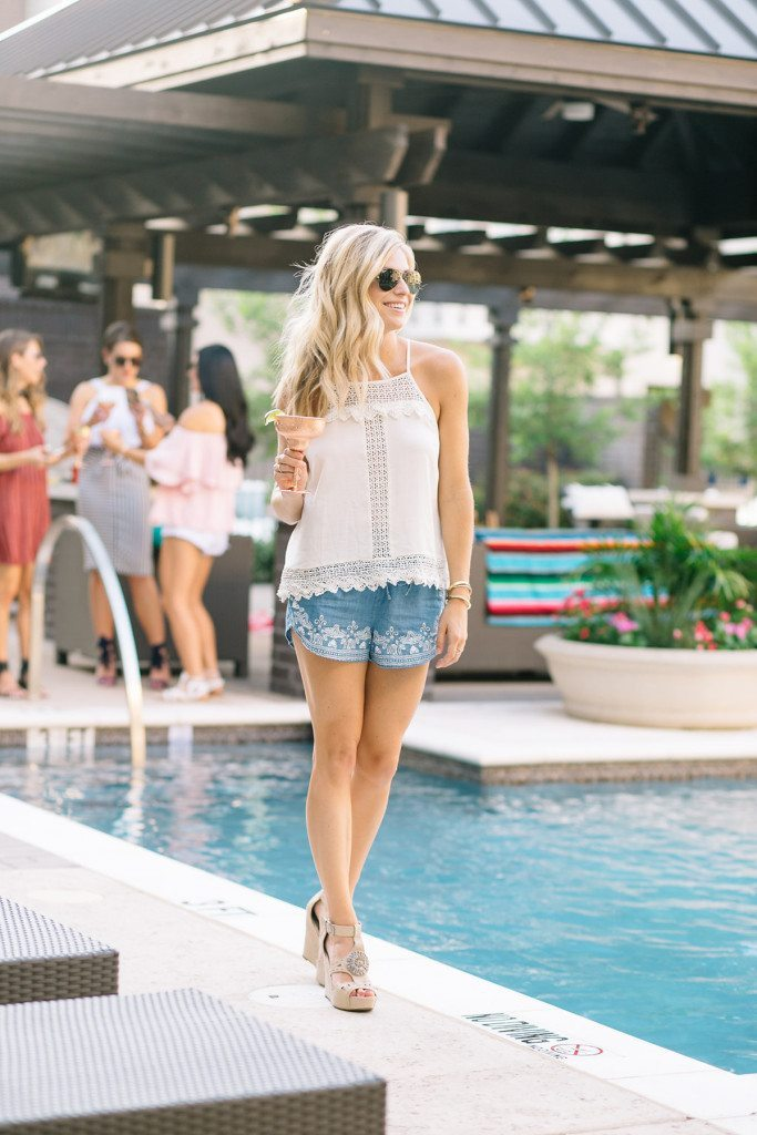 white top - white shirt - blue shorts - blue print shorts