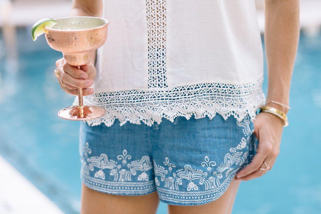 white accents - summer margarita - white cutout shirt - white summer top