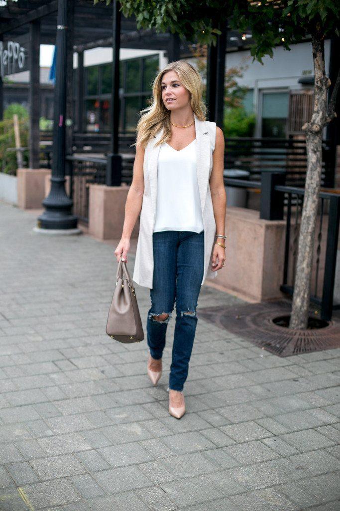 oatmeal long vest - sleeveless long vest - dallas fashion blogger - brooke burnett