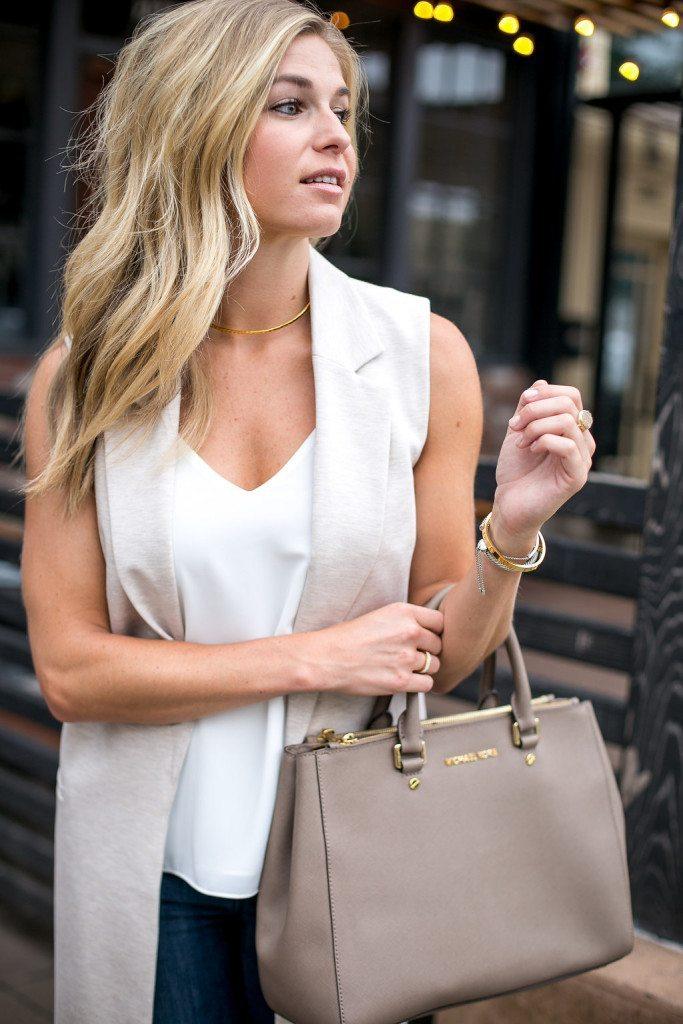 oatmeal sleeveless vest - michael kors satchel purse