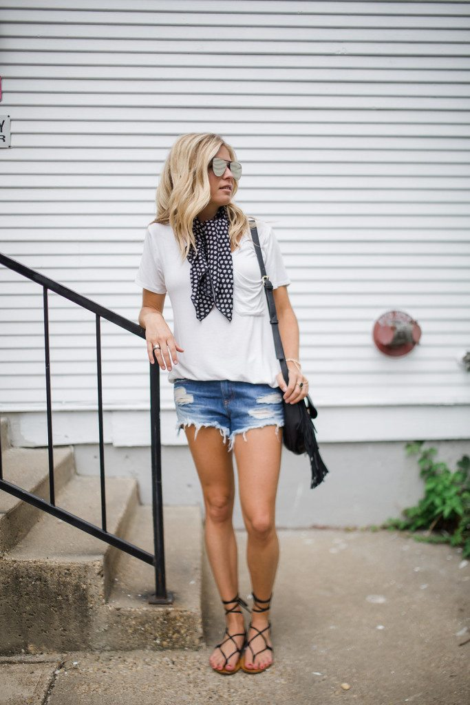 necktie scarf trend - necktie scarf outfit inspiration - cutoff denim shorts outfit - dallas fashion blogger