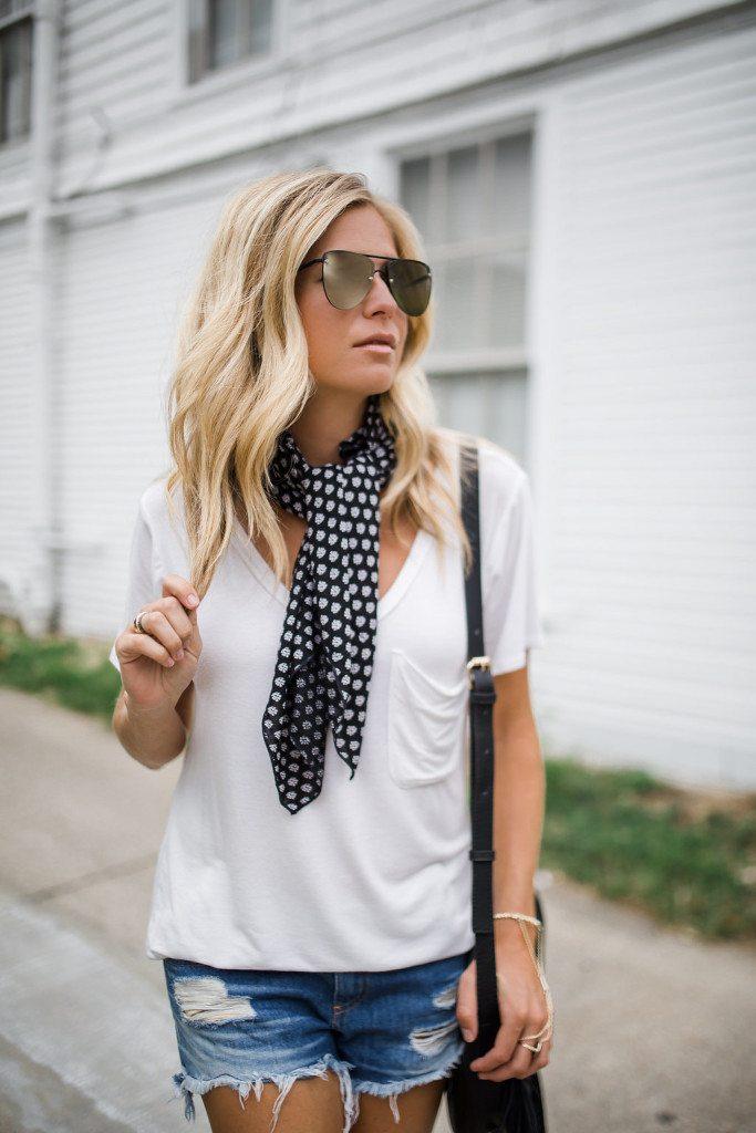 black necktie scarf - white pocket tee - frayed denim shorts