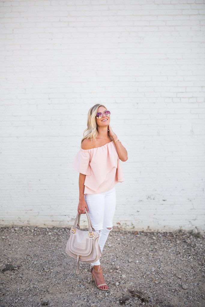 pink off the shoulder top
