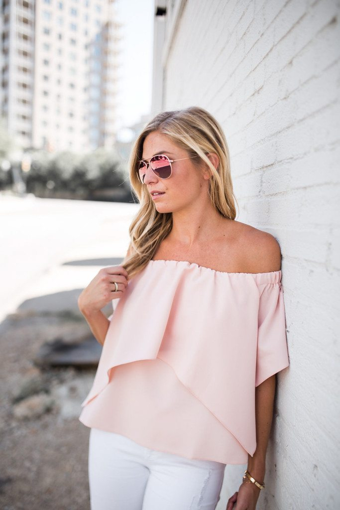 light pink off the shoulder top - blush pink aviator sunglasses