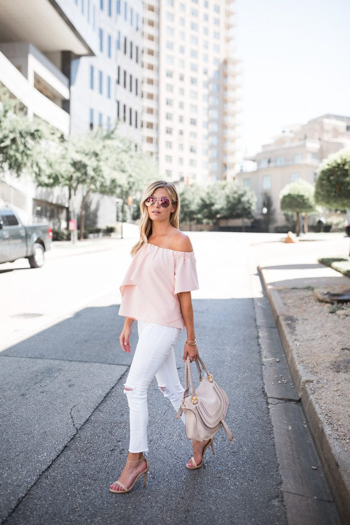 light pink off the shoulder top - feminine summer outfit idea - white skinny jeans