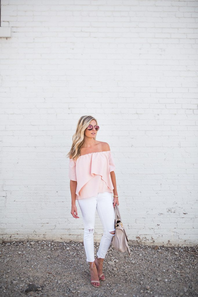 light pink off the shoulder top - dallas fashion blogger - brooke burnett