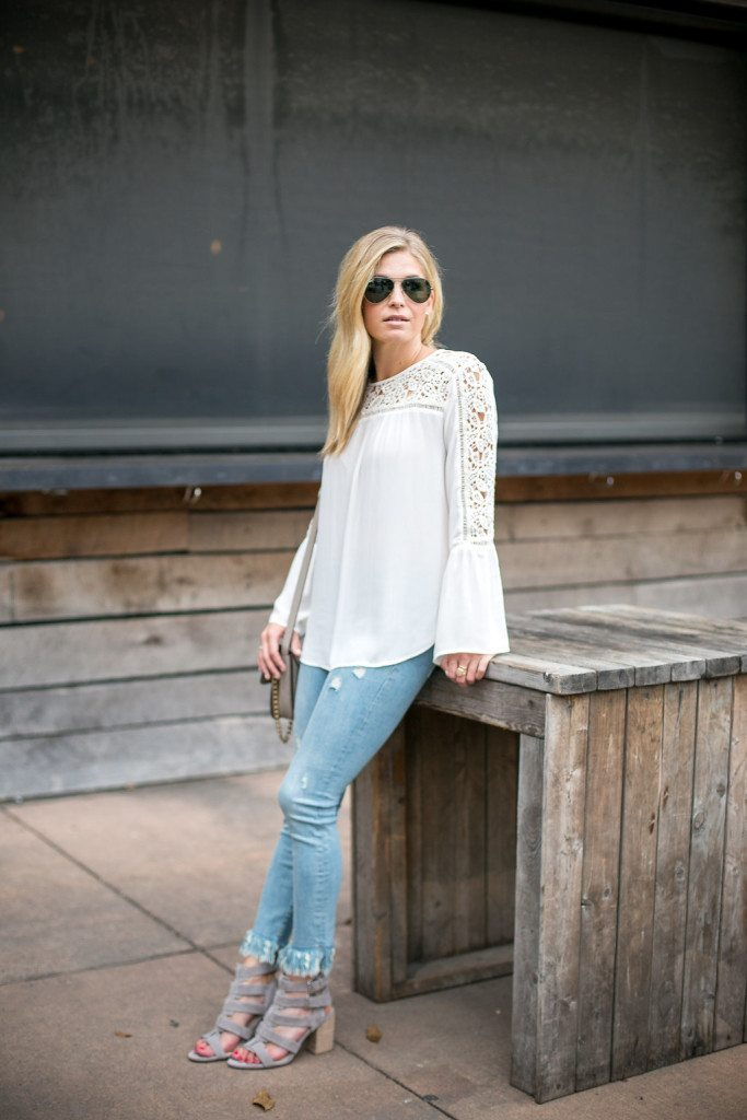 bell sleeve lace blouse - dallas fashion blogger - sole society suede sandals - brooke burnett