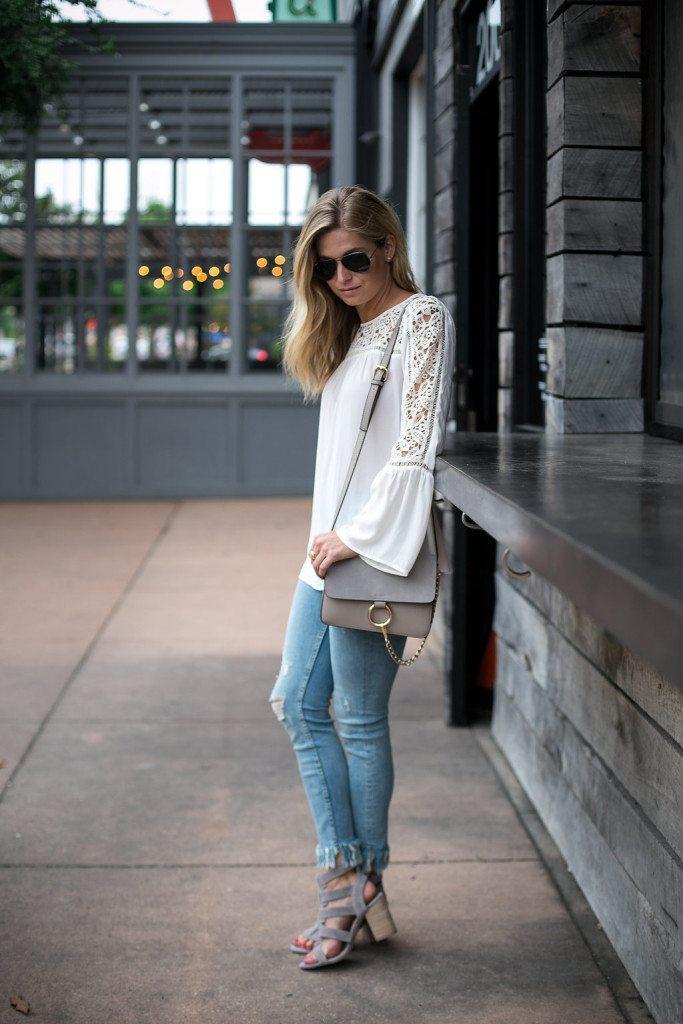 bell sleeve lace blouse - lace peasant blouse - loft poet blouse - gray chloe bag - ankle fringe jeans - dallas fashion blogger