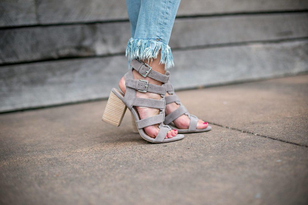 sole society rhea heels - gray suede block heels