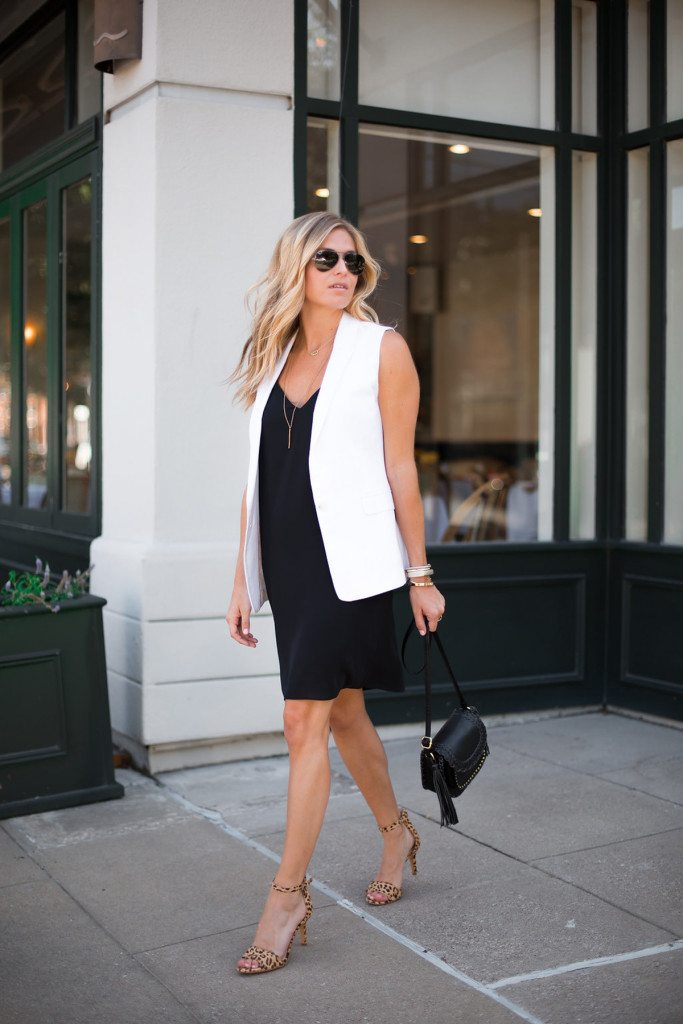little black slip dress - black work dress - white sleeveless vest - black dress work outfit