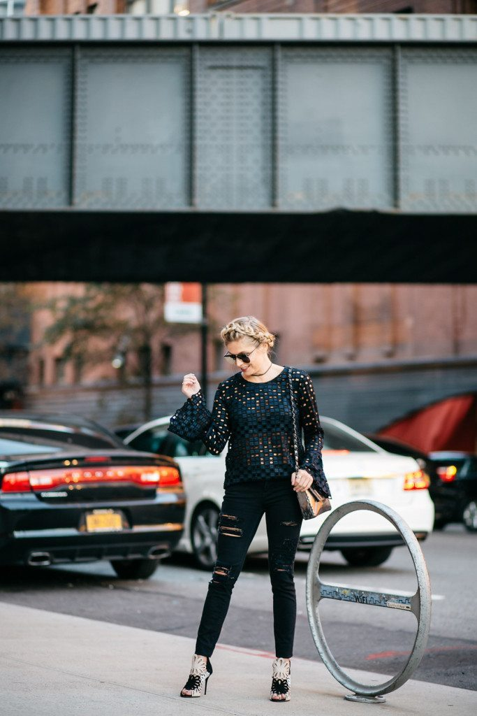 bell sleeve lace blouse - new york fashion week - rewardstyle party nyfw - brooke burnett