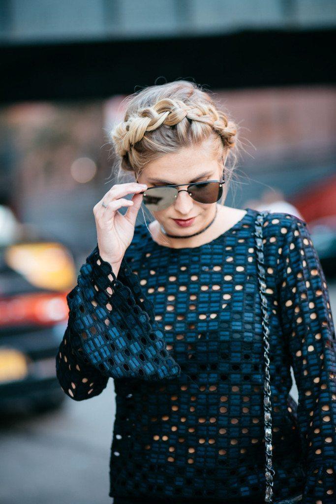 mirrored aviators - navy lace blouse
