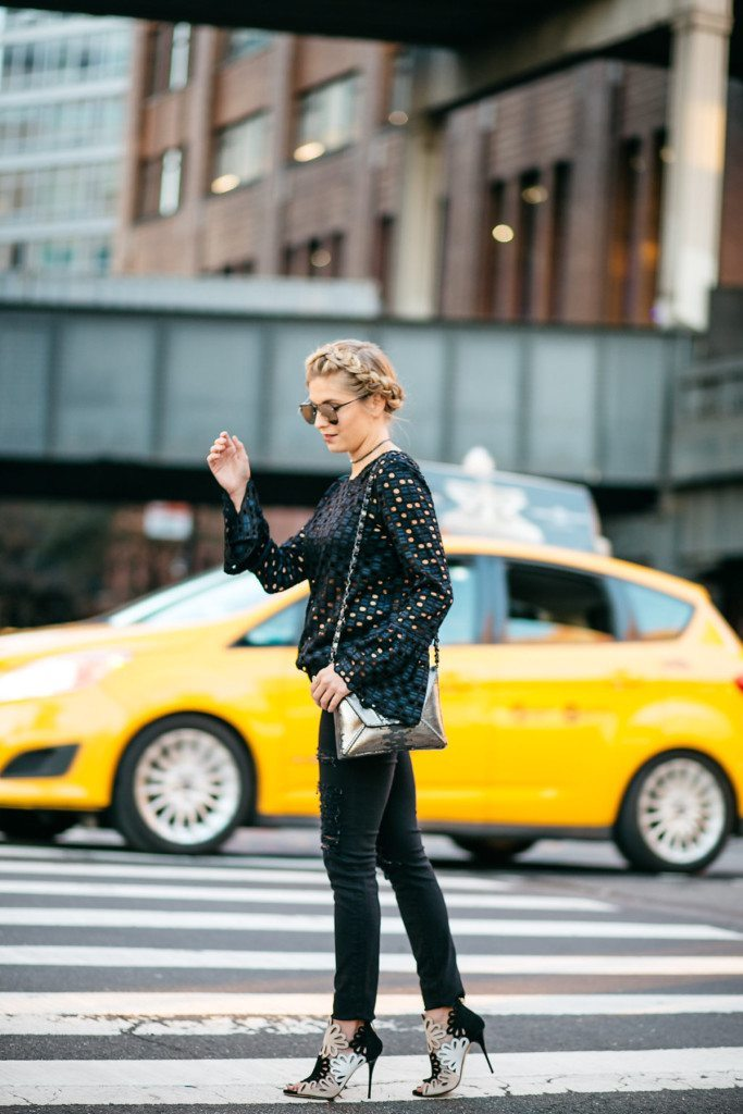 geo lace fluted blouse - nyfw street style outfit