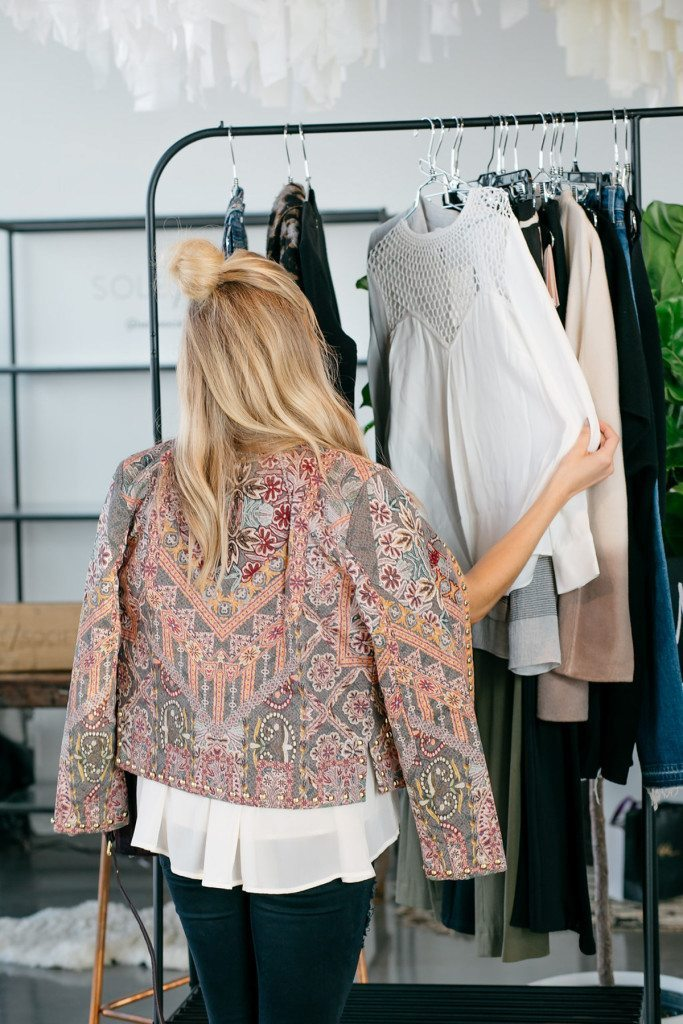 printed quilt jacket with studs - shopstyle social house nyfw