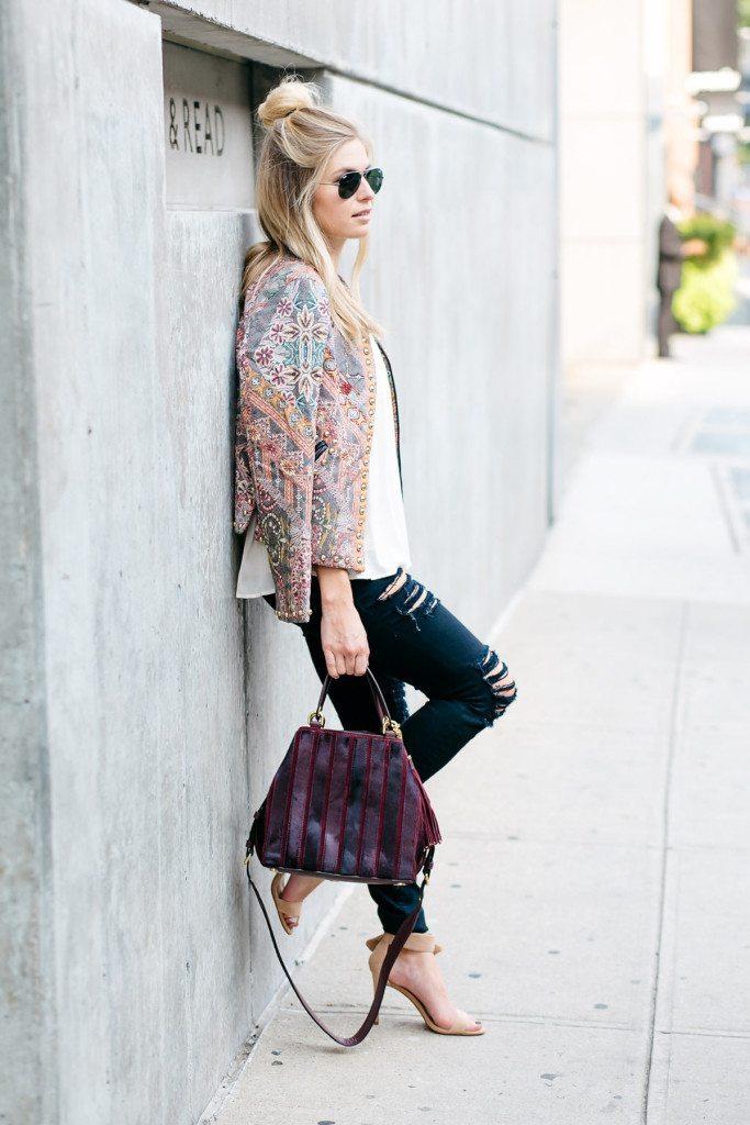 nyfw street style outfit - quilted studded jacket - brooke burnett - nyfw studded jacket - dallas fashion blogger