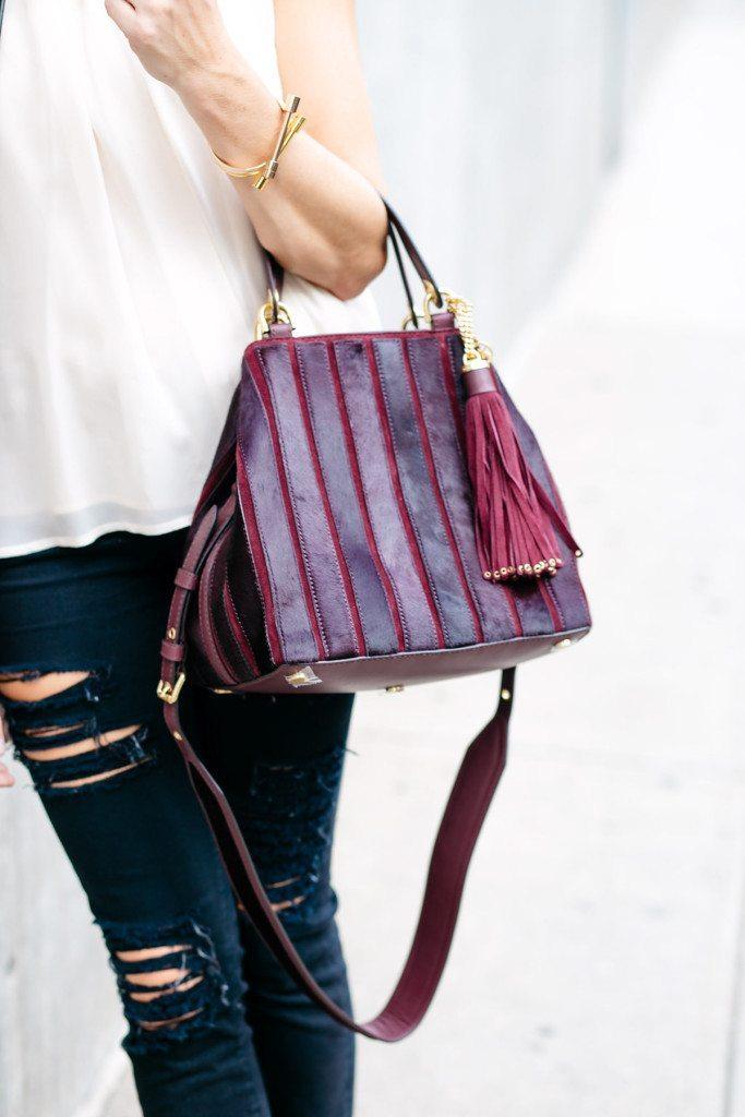 michael kors burgundy brooklyn shoulder bag