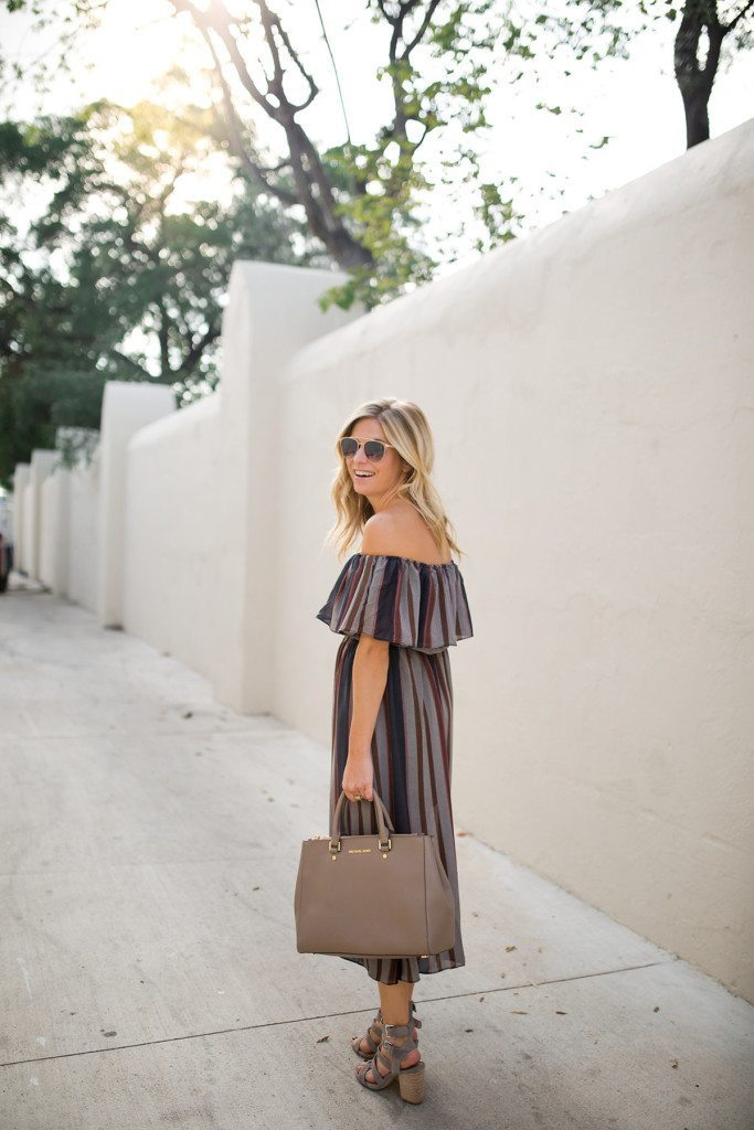 stripe off the shoulder dress