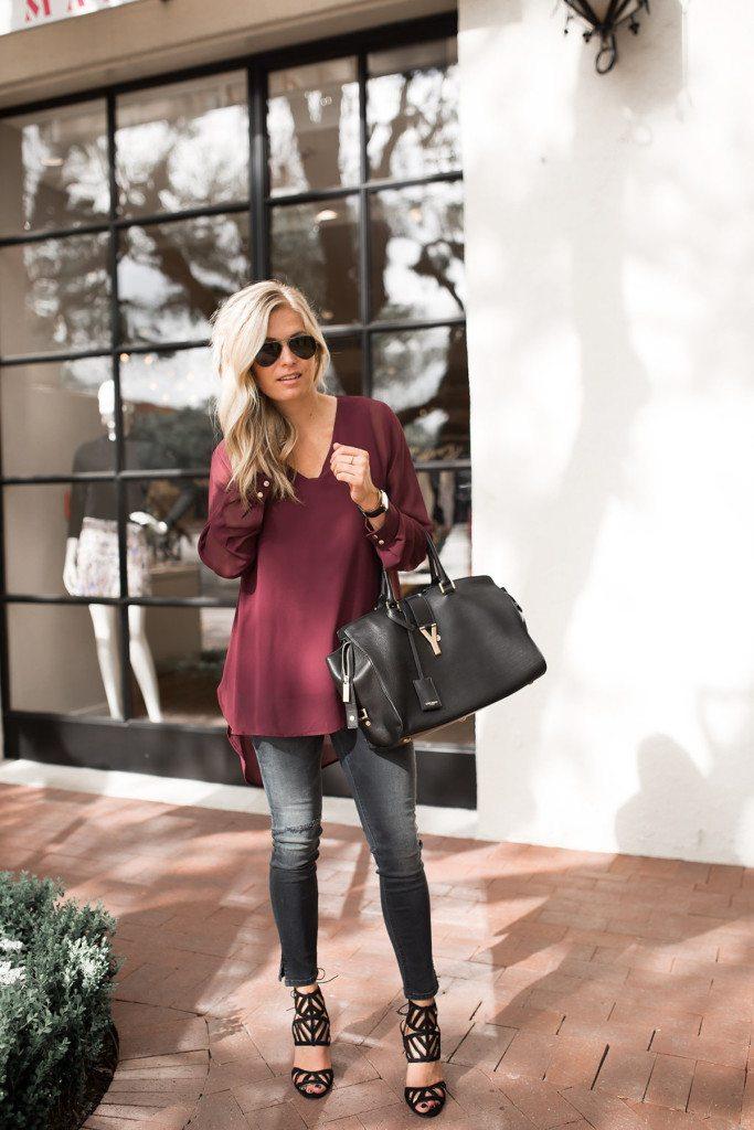 burgundy v-neck blouse, fall outfit idea, dallas fashion blogger, brooke burnett