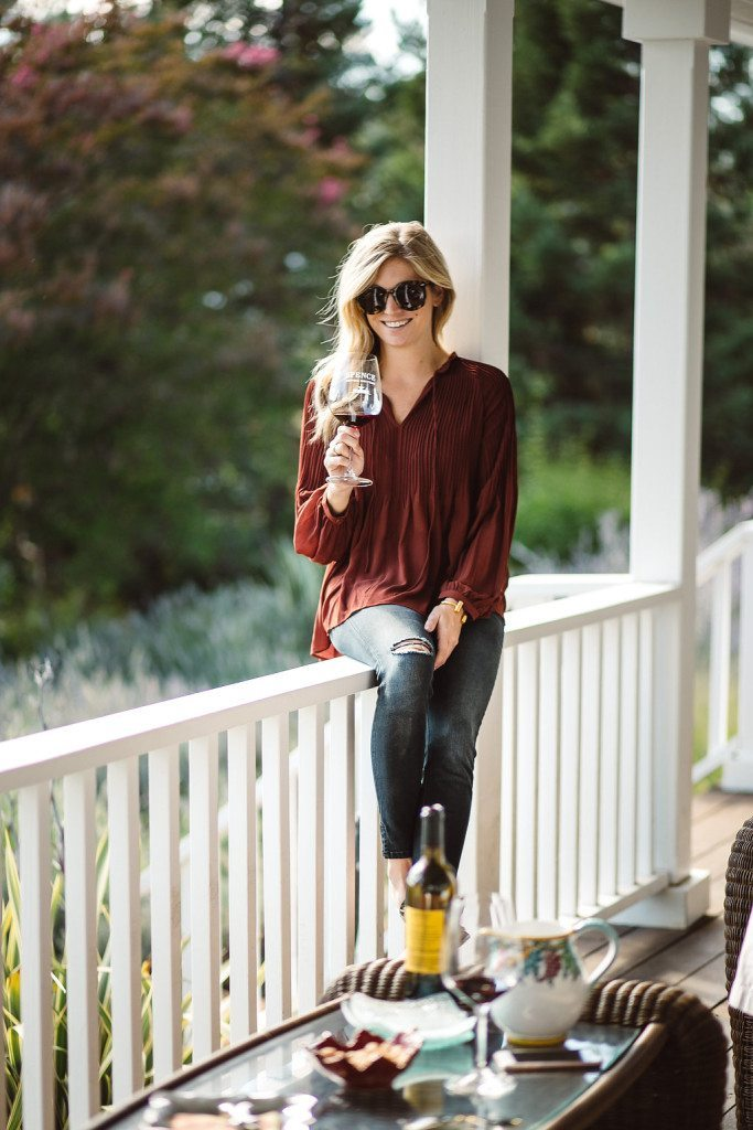 rust pleated blouse - what to wear in napa