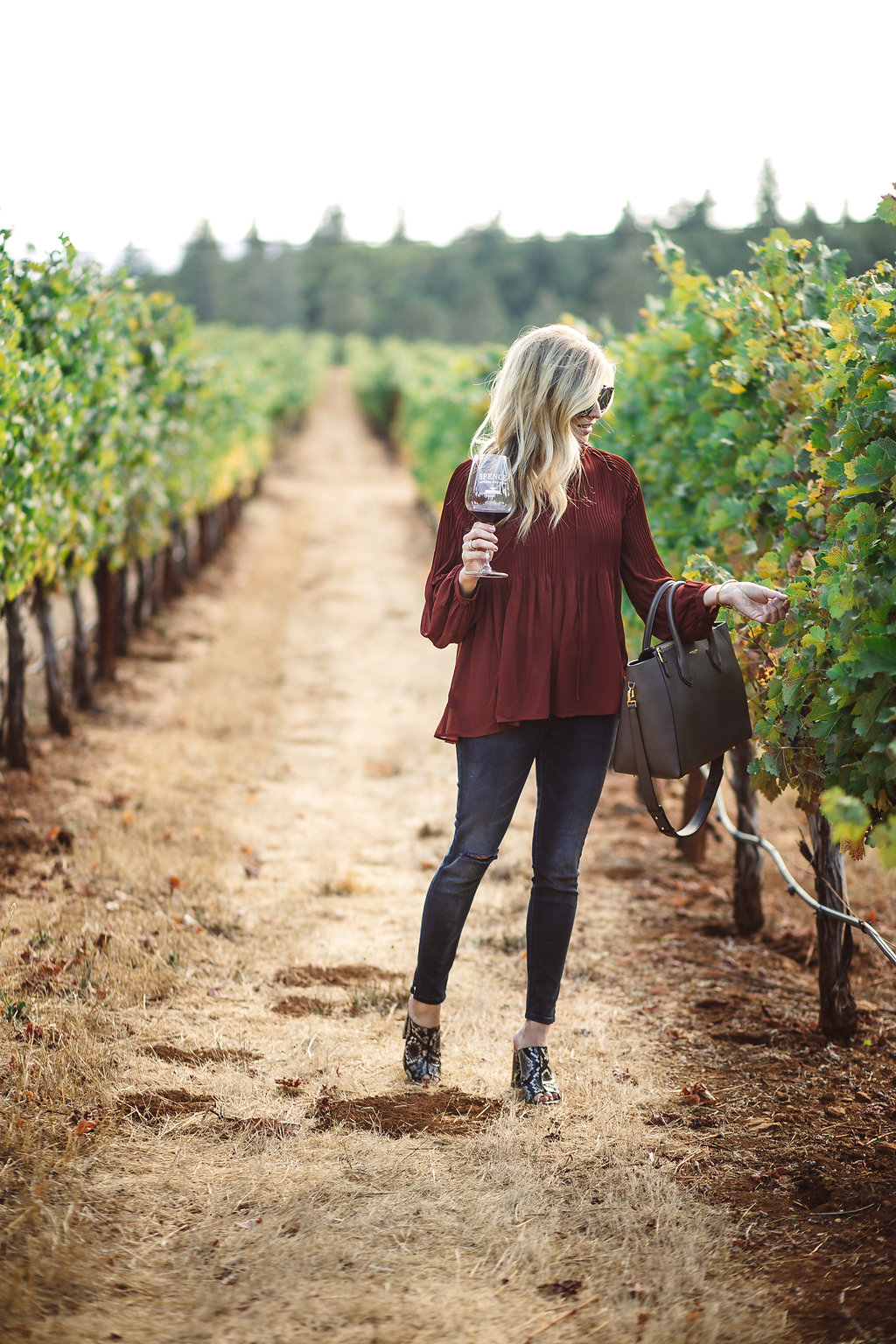 Rust Pleated Blouse Napa Outfit Idea For Winery Tastings