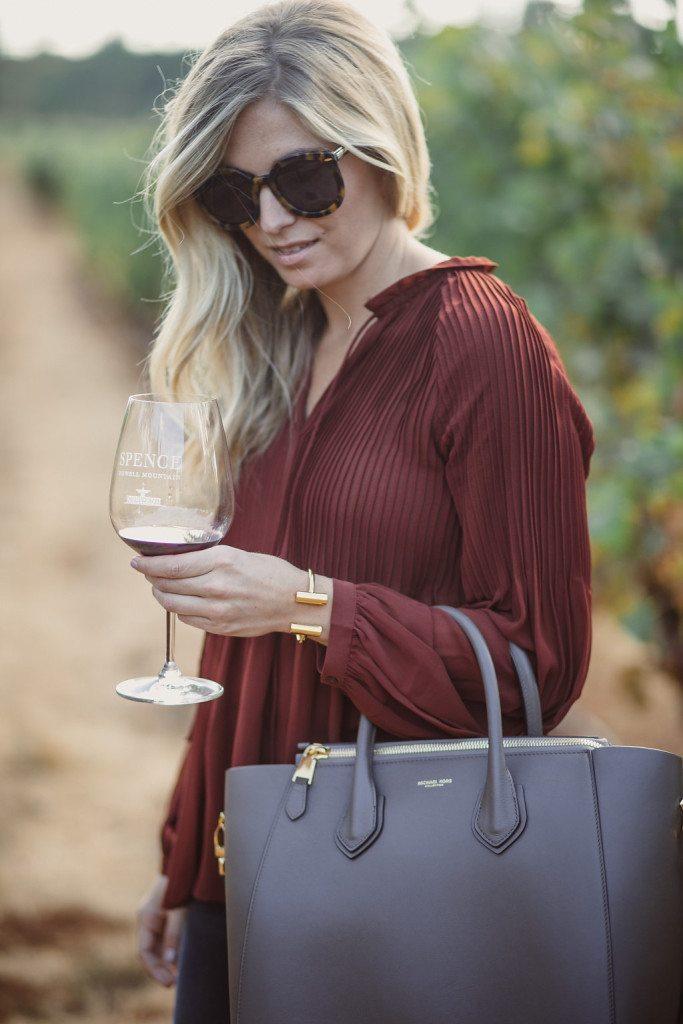 rust pleated blouse