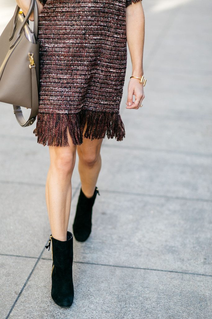 burgundy fringe hem dress