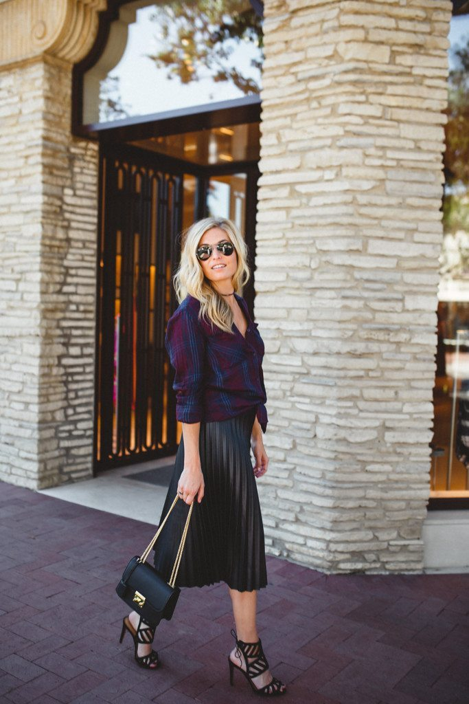 leather pleated midi skirt