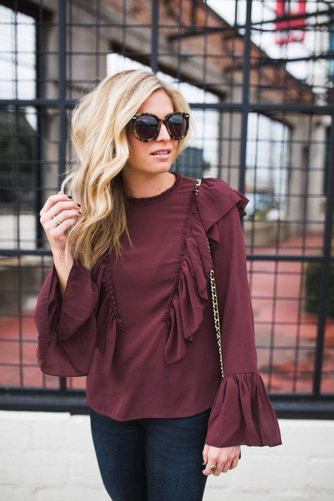 burgundy ruffle top